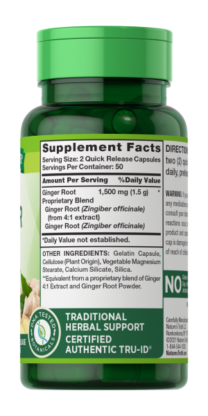 Ginger Root  1,500 mg**